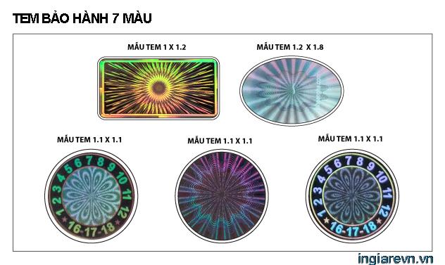 tem bảo hành 7 màu tphcm
